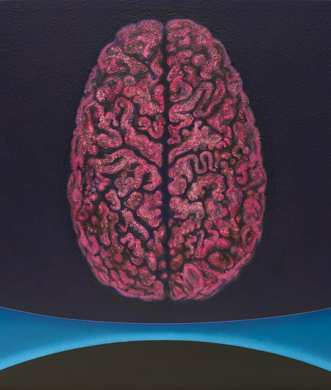'Brain', acrylic on canvas, 183 x 168 cms, 2014