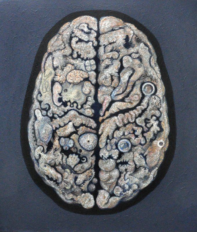 'Cerebral organoid', acrylic on canvas, 183 x 168 cms